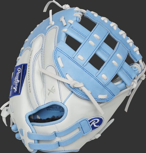 RLACM33FPCB 33-inch Liberty Advanced catcher's mitt with a white back and adjustable pull strap