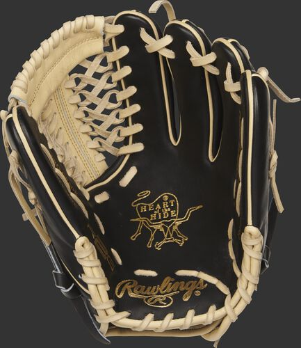 PROR205-4BC Heart of the Hide R2G 11.75-inch glove with a black palm and camel laces