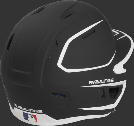 Back right of a two-tone matte black/white MACHEXTR Rawlings junior size batting helmet