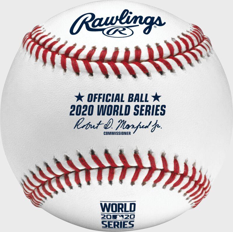 A 2020 Rawlings MLB commemorative World Series baseball with the 2020 World Series logo and red stitching - SKU: EA-WSBB20-R