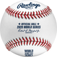 A 2020 Rawlings MLB commemorative World Series baseball with the 2020 World Series logo and red stitching - SKU: EA-WSBB20-R image number null