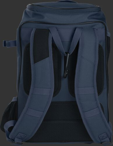 Back shoulder straps of a navy R701 baseball gear backpack