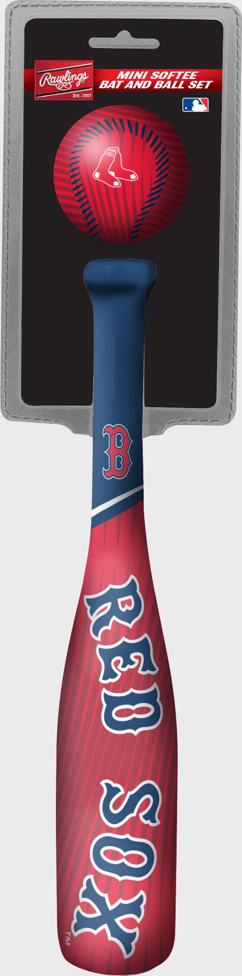 Rawlings Boston Red Sox Softee Mini Bat and Ball Set in Team Colors With Team Name and Logo On Front SKU #01160024114