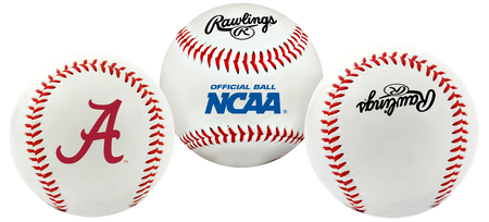 3 views of a NCAA Alabama Crimson Tide baseball with a team logo, NCAA logo and Rawlings logo