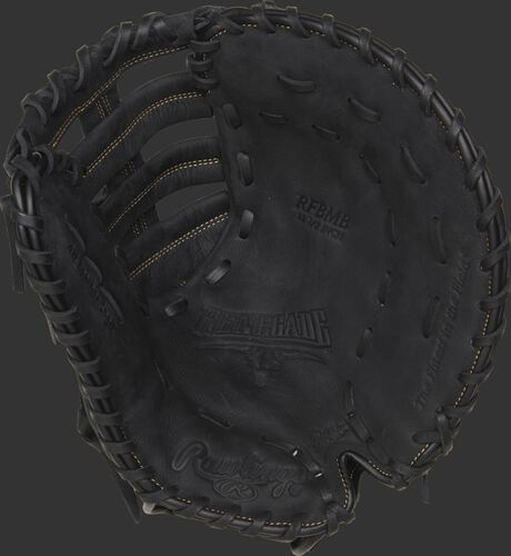 RFBMB Rawlings recreational first base mitt with a black palm, black laces and Sure Catch design