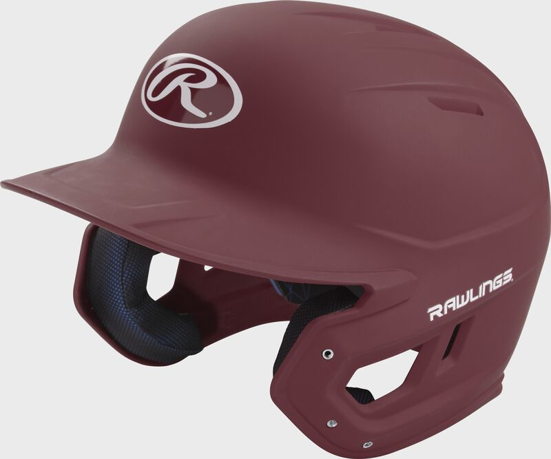Left angle view of a Rawlings MACH helmet with a one-tone matte maroon shell