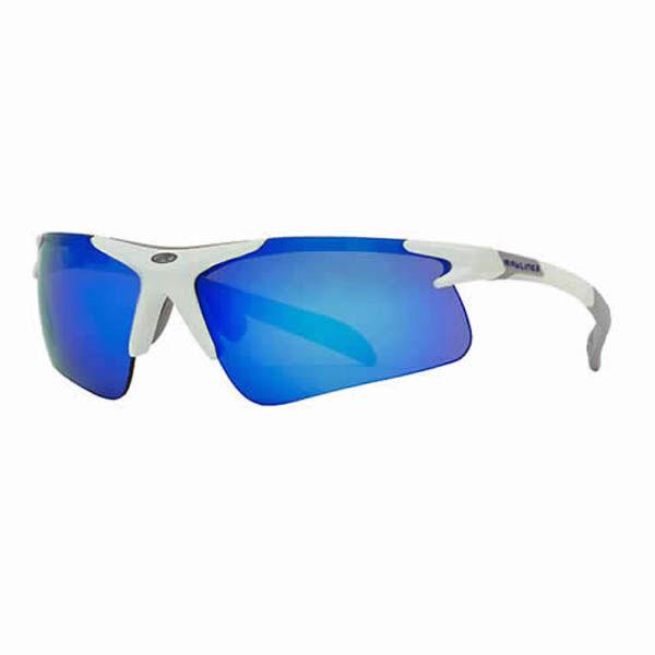 Pro Half-Rim Athletic Wrap Sunglasses with Blue RV Mirror Lenses