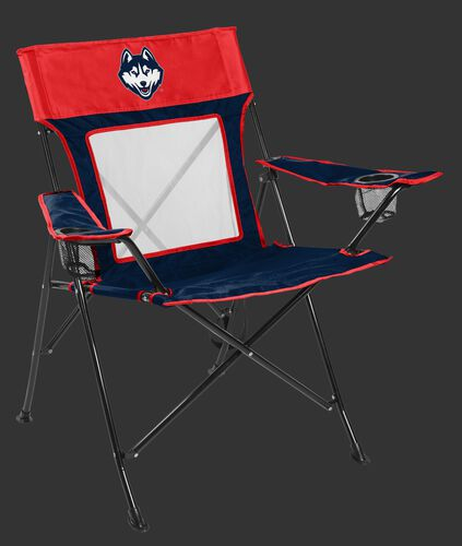 Front of Rawlings Navy and Red NCAA UCONN Huskies Game Changer Chair With Team Logo SKU #00643072111