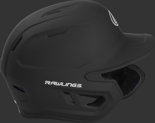 Right side of a MACHEXTR junior Rawlings batting helmet with a one-tone matte black shell
