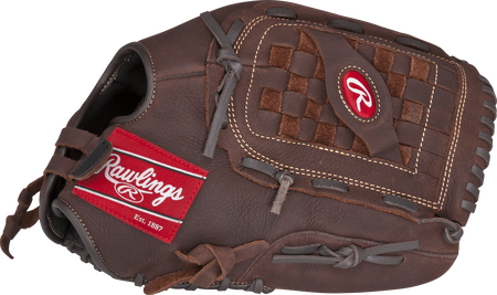 Thumb view of a brown P140BPS Player Preferred 14-inch outfield glove with a brown Basket web with Support Strap