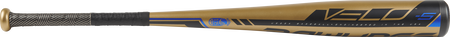 Barrel view of a UT9V5 USSSA Velo baseball bat with a gold barrel and gold/black grip