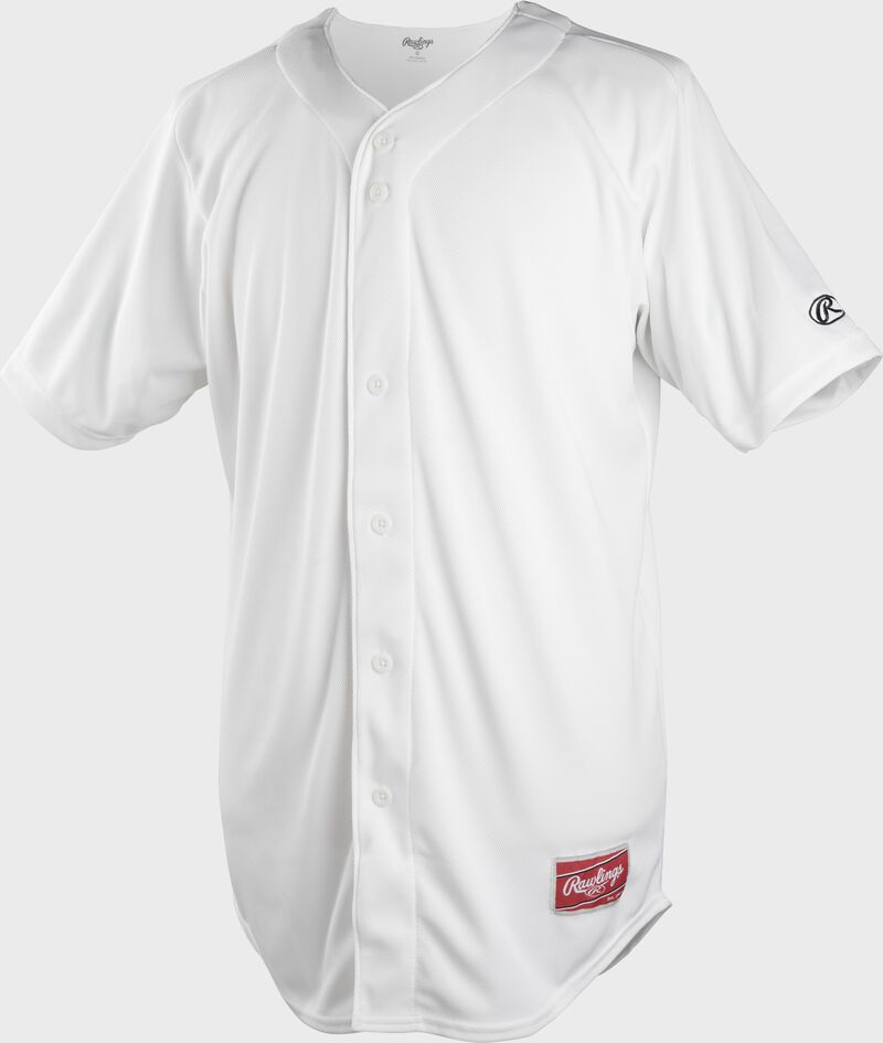 A white full button-up Rawlings adult short sleeve jersey - SKU: KLR121-W