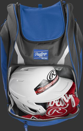 A royal Legion backpack with a helmet and other gear in the main compartment - SKU: LEGION-R