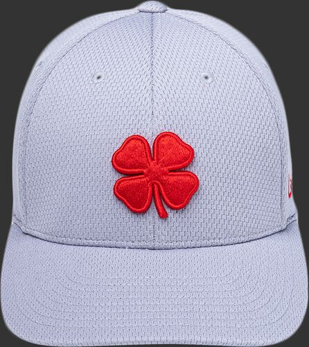 Front of a gray Rawlings Black Clover 'The Shift' fitted hat with a red Clover Leaf logo - SKU: BCR1TS0071