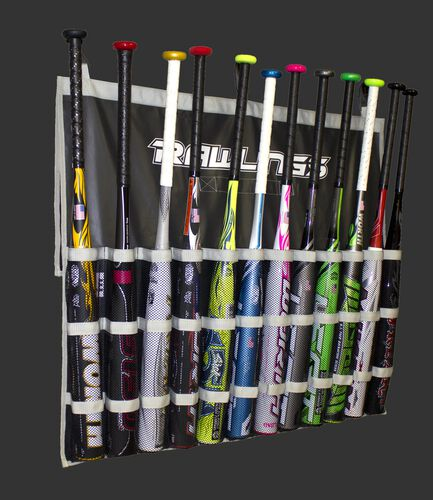 A black Rawlings hanging bat bag filled with 12 bats - SKU: FBB-B