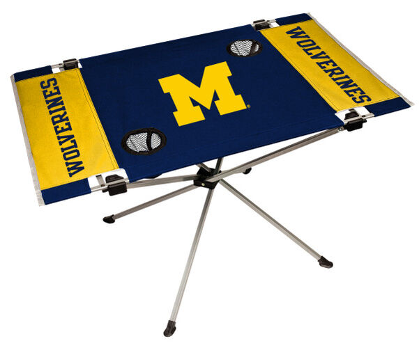 Rawlings Yellow and Blue NCAA Michigan Wolverines Endzone Table With Two Cup Holders, Team Logo, and Team Name SKU #04053083111
