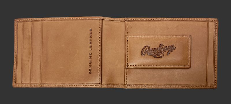 Inside of a tan Rawlings play ball front pocket wallet with a money clip - SKU MW496-204