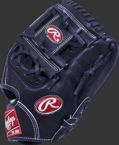 A black Pro Preferred 11.5 in infield glove with a black I-web - SKU: PROS1150KB