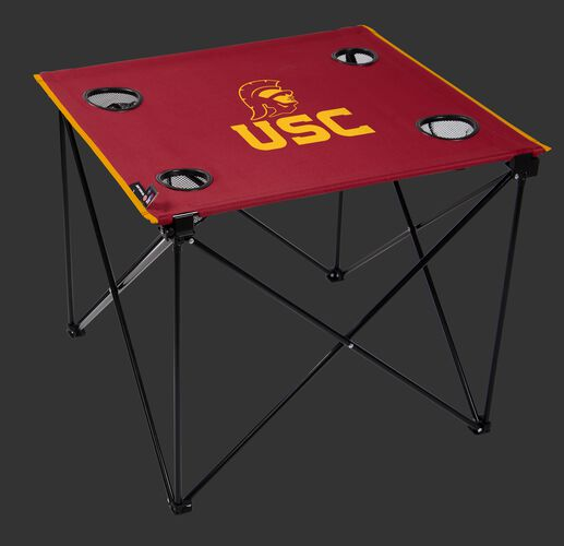 A red NCAA USC Trojans deluxe tailgate table with four cup holders and team logo printed in the middle SKU #00713100111