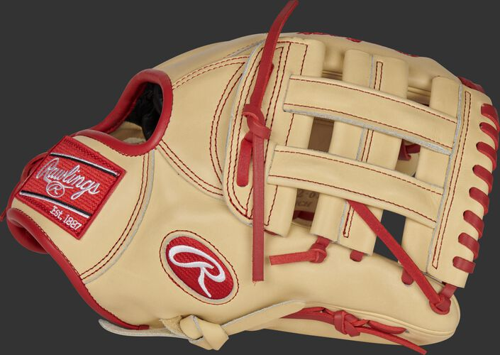 Thumb of a camel 2021 Xander Bogaerts Pro Preferred infield glove with a camel H-web - SKU: RSGPROSDJ2-6XB