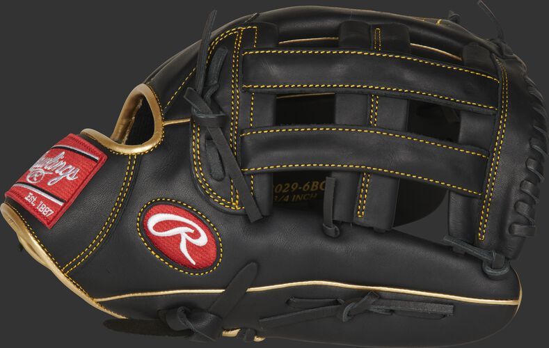 Thumb of a black R9 Series 12.75-inch outfield glove with a black H-web - SKU: R93029-6BG