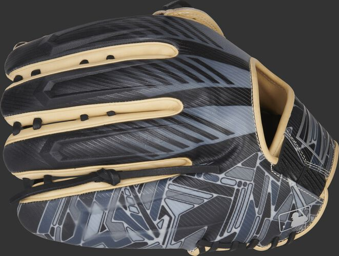 Black/gray back of a REV1X 12.75-inch outfield glove with a sublimated design - SKU: REV3039-6