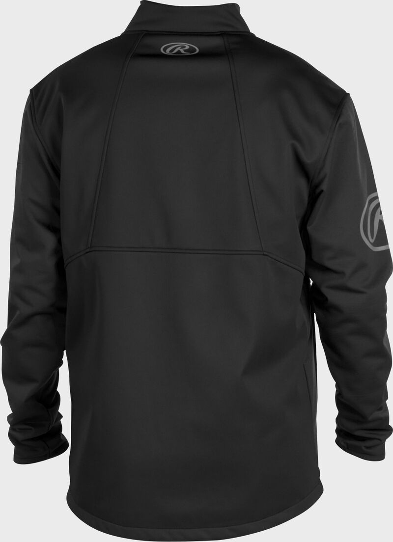 Back of a black Rawlings mid weight Gold Collection jacket - SKU: GCMW2-B