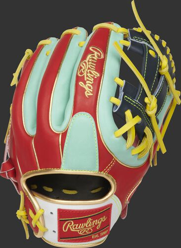 Back of a Kolten Wong Gameday 57 glove with scarlet back, mint trim and a mint finger pad - SKU: PRO314-7KW