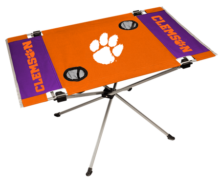 An orange/purple NCAA Clemson Tigers endzone table with two cup holders and team logo printed in the middle