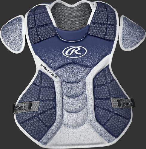 A navy/white CPVEL Velo series adult chest protector
