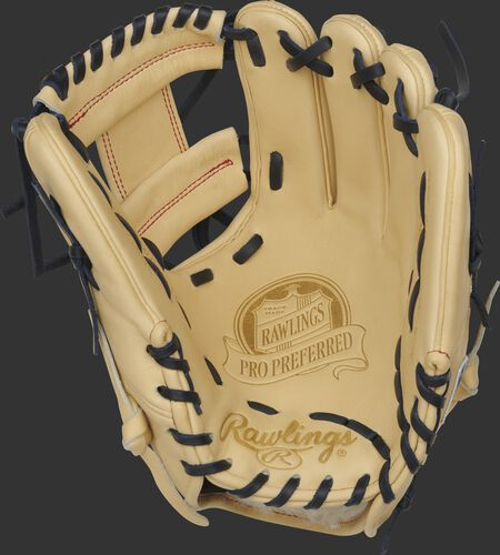 Camel palm of a Rawlings Pro Preferred infield glove with a camel web and navy laces - SKU: PROS204-2C