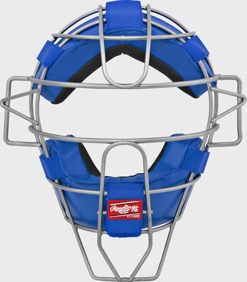 A LWMX2 adult lightweight hollow wire catcher/umpire mask with royal padding and silver cage