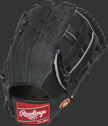 Suede back of a black Cody Bellinger Gameday 57 series outfield glove - SKU: PRO442-CB35