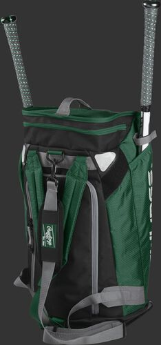 Left angle of a dark green R601 Rawlings Hybrid players bag with two bats