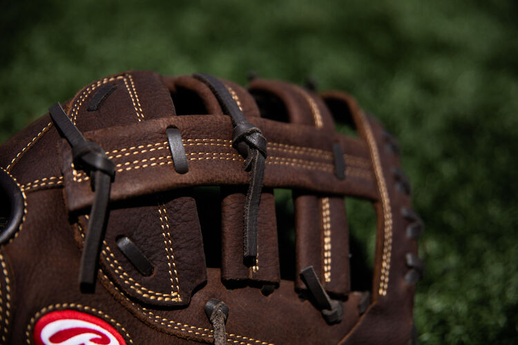 Brown Single Post, Double Bar web on a recreational Player Preferred first base mitt lying on a field - SKU: PFBDCT