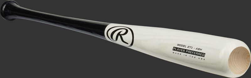 Angled view of a white/black Ash Player Preferred bat with a cupped end - SKU: 271RAB