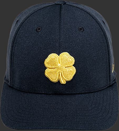 Front of a black Rawlings Black Clover Gold Glove hat with a gold clover leaf - SKU: BCR1GG0571