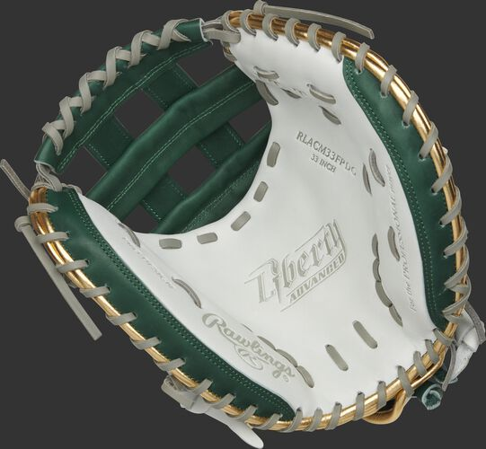RLACM33FPDG Rawlings Liberty Advanced Color Series catcher's mitt with a white palm, dark green web and gray laces