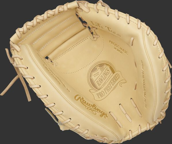 Camel palm of a Rawlings Pro Preferred catcher's mitt with a camel web and laces - SKU: PROSCM43C