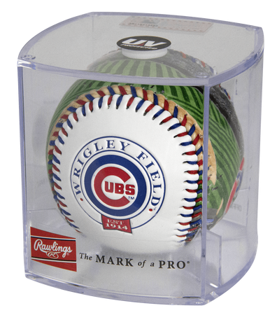 MLB Chicago Cubs stadium baseball in a display case