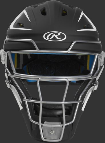 Front of a black CHMCHJ Mach hockey-style junior catcher's helmet