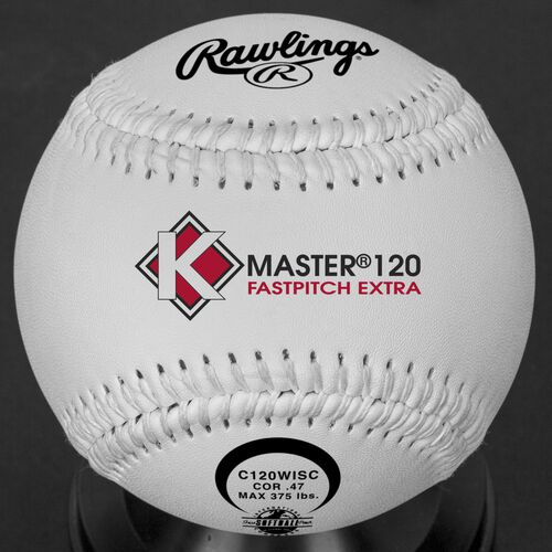A white C120WISC ISA official 12-inch K-Master softball with white stitching