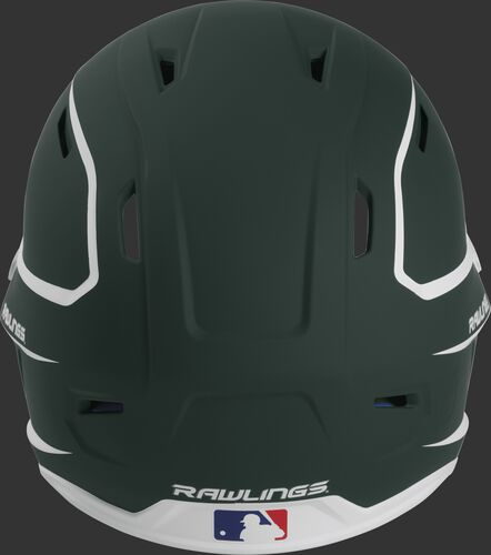 Back of a dark green/white MACH high performance senior helmet with the Official Batting Helmet of MLB logo