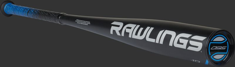 White Rawlings logo on the barrel of a black 5150 youth baseball bat with a black end cap - SKU: US15