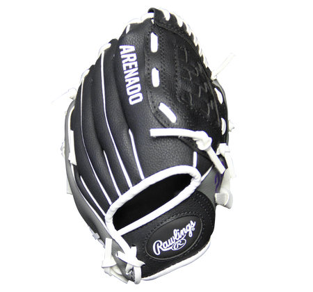 Back of a black MLBPA Nolan Arenado 9-inch player glove