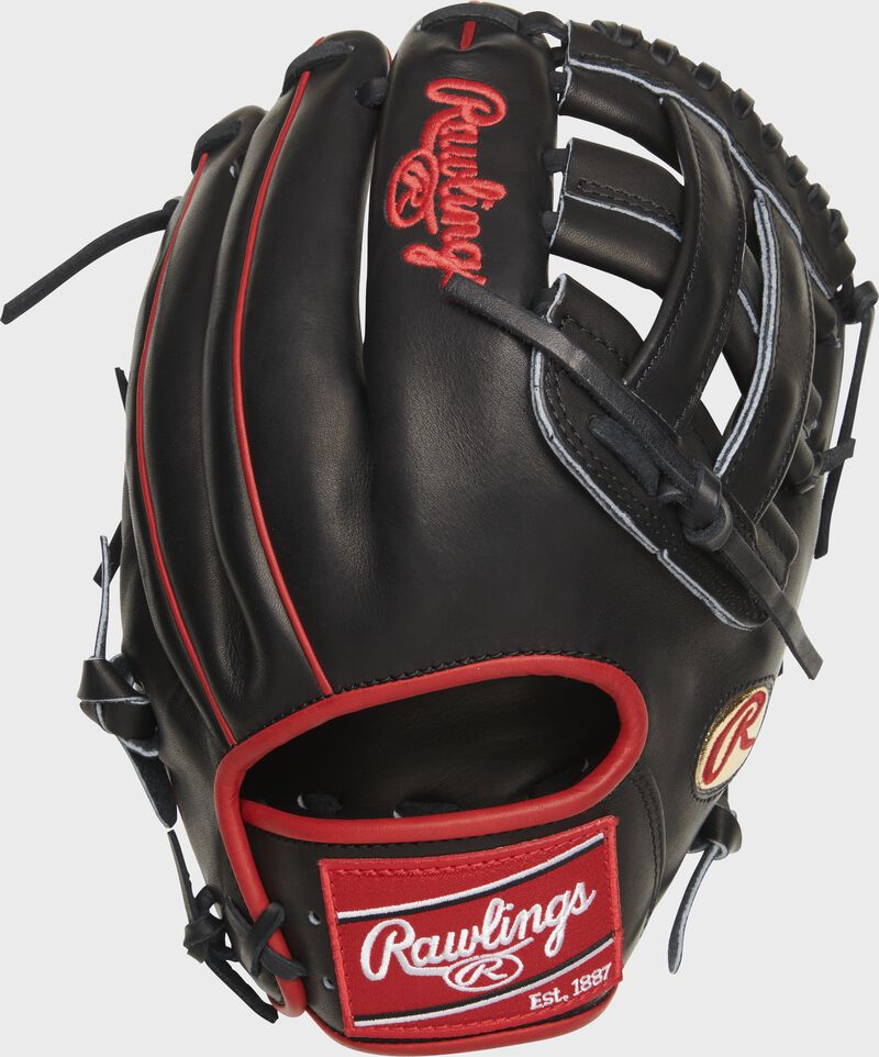Back of a black Isiah Kiner-Falefa Heart of the Hide infield glove with a black H-web and red Rawlings patch - SKU: RSGPRO205-IKF9