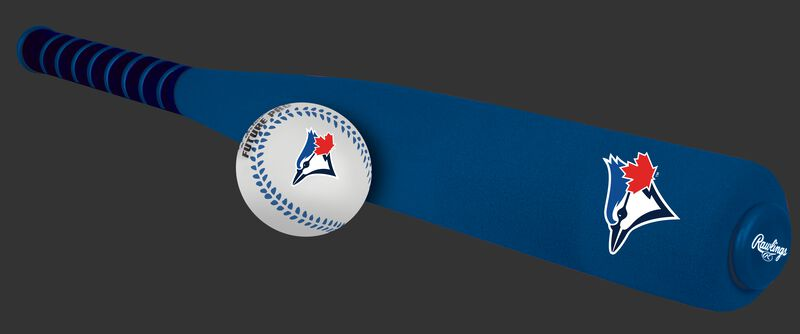 Side of Rawlings Toronto Blue Jays Foam Bat and Ball Set in Team Colors With Team Name and Logo On Front SKU #01860004111