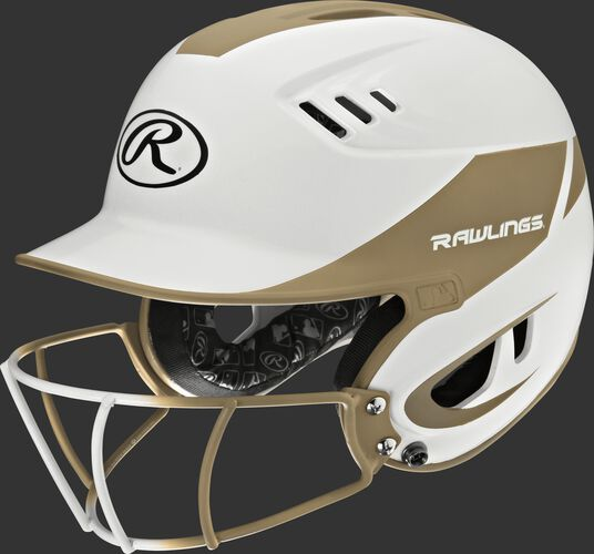 A white/vegas gold R16H2FGS Velo junior batting helmet with a white/vegas gold facemask