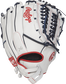 Back view of a white RLA125FS-15WNS 12.5-inch Liberty Advanced finger shift softball glove with a Pull-Strap design image number null