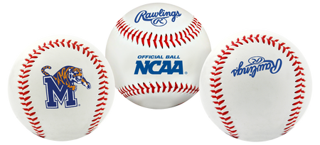 3 views of a NCAA Memphis Tigers baseball with a team logo, NCAA logo and Rawlings logo